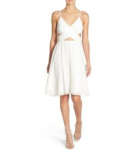 Leith Spaghetti Strap Wrap Ivory Egret Dress